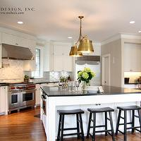 M. E. Beck Design - kitchens - white, kitchen cabinets, white, kitchen island, soapstone, countertops, calcutta, gold, marble, backsplash, pot filler, black, wood, sawhorse, counter stools, sink in kitchen island, Wolf, range, vent, Sandy Chapman Double Sloane Street Shop Light with Metal Shades - Antique Brass,