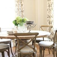 M. E. Beck Design - dining rooms - white, gray, drapes, hydrangeas, Restoration Hardware Pedestal Salvaged Wood Round Table, Restoration Hardware Madeline Side Chair - Weathered Oak Drifted Finish,