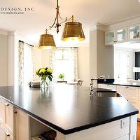 M. E. Beck Design - kitchens - large, white, kitchen island, soapstone, countertop, sink in kitchen island, soapstone countertops, soapstone counters, Sandy Chapman Double Sloane Street Shop Light with Metal Shades - Antique Brass,