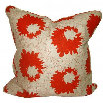 Custom Orange Floral on Linen Pillow, Pieces