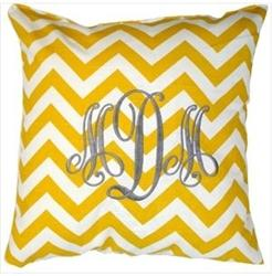 Monogrammed Yellow Chevron Throw Pillow