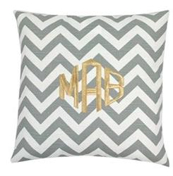Pillows - Monogrammed Grey Chevron Throw Pillow - gray, chevron, monogrammed, pillow