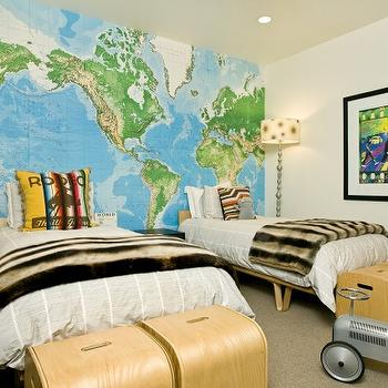 Grace Home Design - boy's rooms - faux fur, floor lamps, Toys R Us World Map Wall Mural, Case Study Bentwood V-Leg Bed,  Sweet boys' bedroom