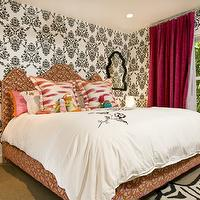 Grace Home Design - girl&#039;s rooms - black, white, damask, wallpaper, orange, pink, upholstered, queen, bed, white, pink, ikat, pillows, fuchsia, velvet, drapes, glossy, orange, modern, tables, nightstands, Jonathan Adler Queen Anne Mirror, Jonathan Adler Zebra Rug,