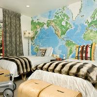 Fun boys' bedroom with Toys R Us World Map Wall Mural, Twin Case Study Bentwood ...