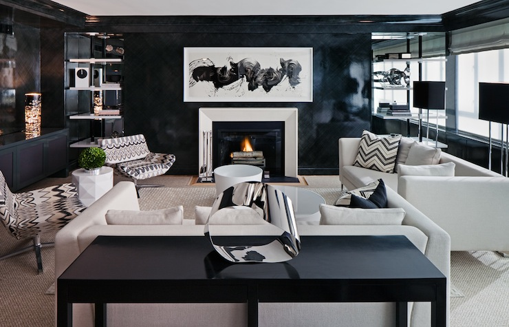 White and black living room contemporary living room for Dark walls white furniture