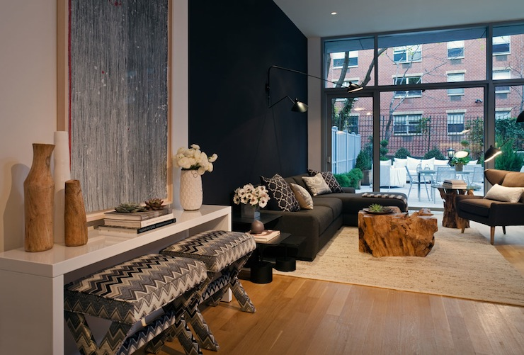Suzie: Haus Interior - Contemporary city living room with glossy white lacquer console table, x ...