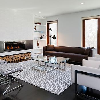 Haus Interior - living rooms - white, built-ins, flanking, modern, fireplace, stacked, tiles, brown, sofa, white, modern, chairs, x, ottomans, white, gray, rug, glass-top, coffee table, built in fireplace, modern fireplace,