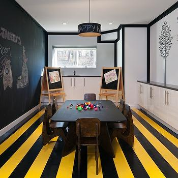 Haus Interior - basements - black, chalkboard, wall, yellow, black, striped, painted, floors, chalkboard, easels, chalkboard, paint, drum, pendant, wall, white, cabinets, tree, wall sticker, mural, basement playroom, basement play room,