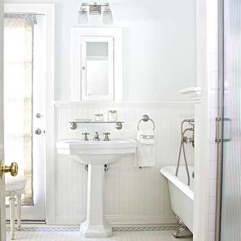 Titan and Co - bathrooms - silver, gray, walls, chair rail, beadboard, white, framed, inset, medicine, cabinet, white, pedestal, sink, clawfoot, tub, vintage, penny, tiles, blue, gray, decorative, inset, border, tiles, French, stool, shower, brushed nickel, ring, towel, holder, faucet, kit, vintage glass shelf, dillon double sconce, Restoration Hardware Vintage Glass Shelf, Restoration Hardware Dillon Double Sconce,