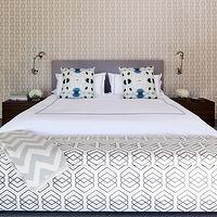 Haus Interior - bedrooms - polished chrome, wall, sconces, lilac, headboard, coffee stained, wood, nightstands, teal, pillows, white, duvet, shams, lilac, stitching, white, gray, chevron, throw, white, black, geometric, print, storage, bench, chain link wallpaper, phillip jeffries wallpaper,