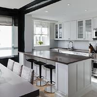 Haus Interior - kitchens - black, contemporary, bar stools, white, kitchen cabinets, polished, quartz, countertops, blue, stacked, glass, tiles, backsplash,
