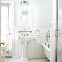 Titan and Co - bathrooms - silver, gray, walls, chair rail, beadboard, white, framed, inset, medicine, cabinet, white, pedestal, sink, clawfoot, tub, vintage, penny, tiles, blue, gray, decorative, inset, border, tiles, French, stool, shower, brushed nickel, ring, towel, holder, faucet, kit, Restoration Hardware Vintage Glass Shelf, Restoration Hardware Dillon Double Sconce,