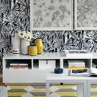 Haus Interior - living rooms - yellow, gray, geometric, rug, white, Parsons, end tables, glossy, white, lacquer, low, open, cabinet, black, white, wallpaper, parsons end table, parsons table, white parsons end table, white parsons table, West Elm Hive Vase,