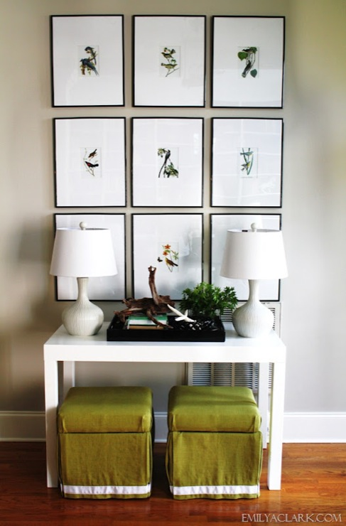 Emily A. Clark - entrances/foyers - Sherwin Williams - Worldly Gray - Bird artwork, parsons desk, entry, foyer, console, skirted ottomans, gallery wall, gray walls, parsons table, white parsons table, parsons console, parsons console table, white parsons console table,