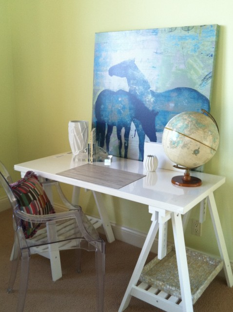 MacCaul Turner Design - girl's rooms - Benjamin Moore - Lemon Twist - Kartell Ghost Chair, bright, yellow, walls, white, sawhorse, desk, blue, horse, canvas, art, sawhorse desks, white sawhorse desks,