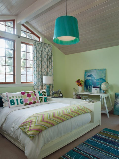 MacCaul Turner Design - girl's rooms - Benjamin Moore - Lemon Twist - Kartell Ghost Chair, cathedral ceiling, kelly green pendant, light, wood, platform, bed, pink, green, chevron, blanket, white, sawhorse, desk, turquoise, blue, triple, gourd, lamp, green yellow paint, green yellow paint colors,
