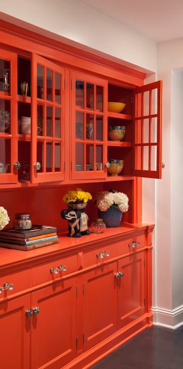 Lucy Interior Design - kitchens - orange, built-in, glass, cabinets, blue, vases, orange cabinets, orange kitchen cabinets, glass front cabinets, glass front kitchen cabinets,