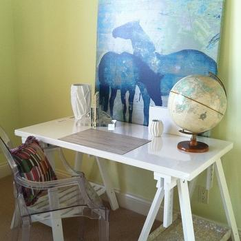 MacCaul Turner Design - girl's rooms - bright, yellow, walls, white, sawhorse, desk, blue, horse, canvas, art, sawhorse desks, white sawhorse desks, Kartell Ghost Chair,