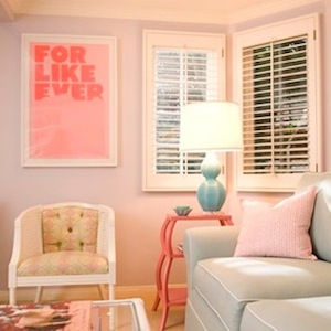 Carla Lane Interiors - living rooms - pale, pink, walls, white, cane, chair, hot pink, 3 tier, table, turquoise, blue, lamp, gray, blue, sofa, white, piping, white, cane, chair, pink etagere, turquoise lamp, For Like Ever Art Print,