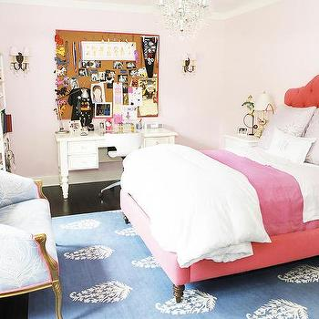 Carla Lane Interiors - girl's rooms: blue, silk, peacock, feather, settee, , red, tufted, bed, pale, pink, walls, white, turned, legs, desk, pin board, white, open, bookcase, red headboard, red tufted headboard,