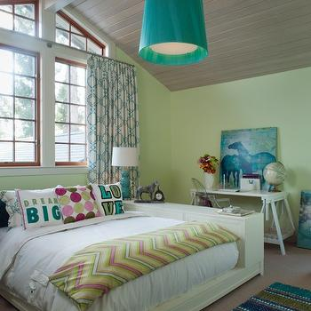 MacCaul Turner Design - girl's rooms - cathedral ceiling, kelly green pendant, light, wood, platform, bed, pink, green, chevron, blanket, white, sawhorse, desk, turquoise, blue, triple, gourd, lamp, green yellow paint, green yellow paint colors, Kartell Ghost Chair,
