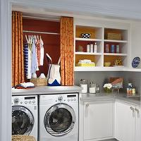 Lucy Interior Design - laundry/mud rooms - white, cabinets, gray, corian, countertops, white, blue, striped, rug, LG, white, front-load, washer, dryer, orange, red, curtains, raspberry, accent wall, orange curtains, orange drapes, orange window panels,