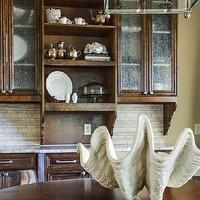 EJ Interiors - dining rooms - Wood table, shell, table decor, cabinet decor, wood cabinets, glass lighting, chandelier, neutral wall color, glass cabinet door,