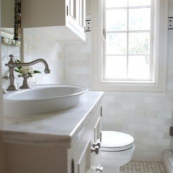 Cabinets above Toilet, Transitional, bathroom, Heather Garrett Design