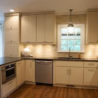 Heather Garrett Design - kitchens - ivory, kitchen cabinets, black, countertops, linear, mosaic, glass, tiles, backsplash, ivory cabinets, ivory kitchen cabinets, ivory shaker cabinets, ivory shaker kitchen cabinets, , Thomas O'Brien Clark Ceiling Light,