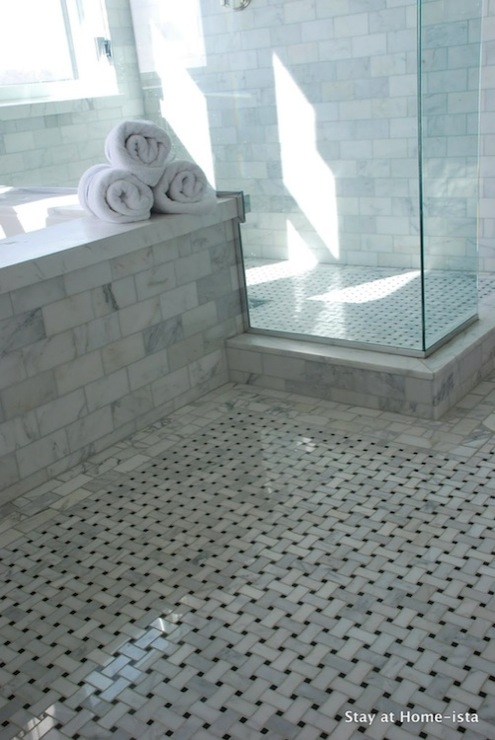 Stay at Homeista - bathrooms - seamless glass shower, marble, basketweave, tiles, floor, marble, subway tiles, shower surround, marble basketweave tile, marble basketweave floor,