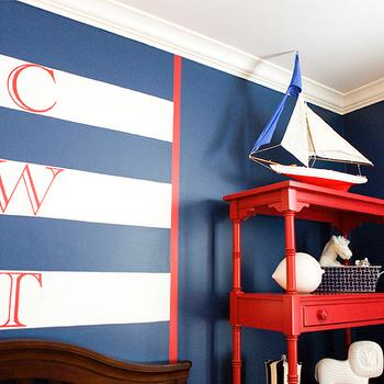 Erinn V Design Group - boy's rooms - blue, walls, white, blue, striped, monogram, walls, red, etagere, bookcase, nautical boys room, nautical theme boys room, nautical themed boys room, nautical boys bedroom,