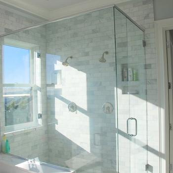Stay at Homeista - bathrooms - pale, blue, painted, ceiling, seamless glass shower, marble, subway tiles, shower surround, marble, basketweave, tiles, shower floor, shower window, window in shower,