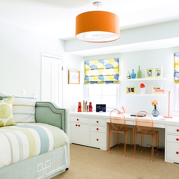 Erinn V Design Group - girl's rooms - gray, blue, daybed, silver, nailhead trim, gray, throw, Greek key, trim, white, built-in, desk, blue, yellow, custom, roman shades, orange, drum, pendant, white, floating, shelves, girls built-in desks, built-in desks, built-in desk for two, Kartell Victoria Ghost Side Chairs - Transparent Orange,
