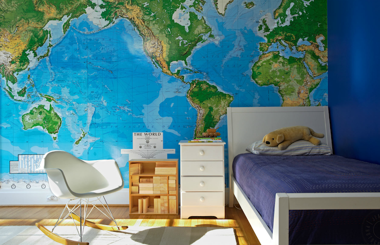 World map wallpaper contemporary boy39s room jean for Kitchen colors with white cabinets with kids world map wall art
