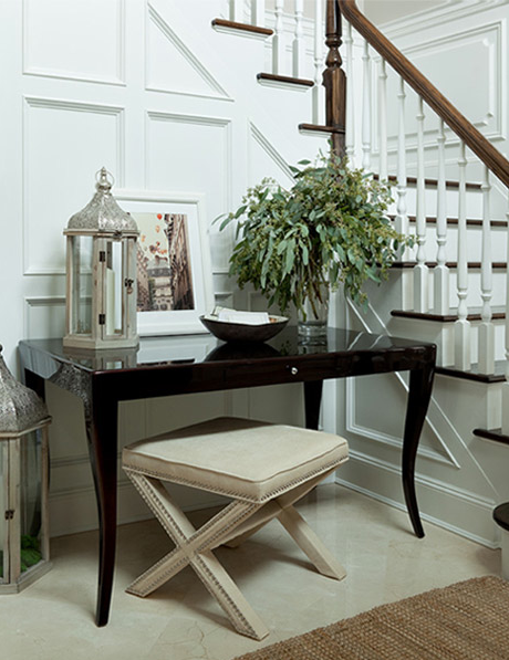 Elegant Foyer Benches : X bench with nailheads transitional entrance foyer