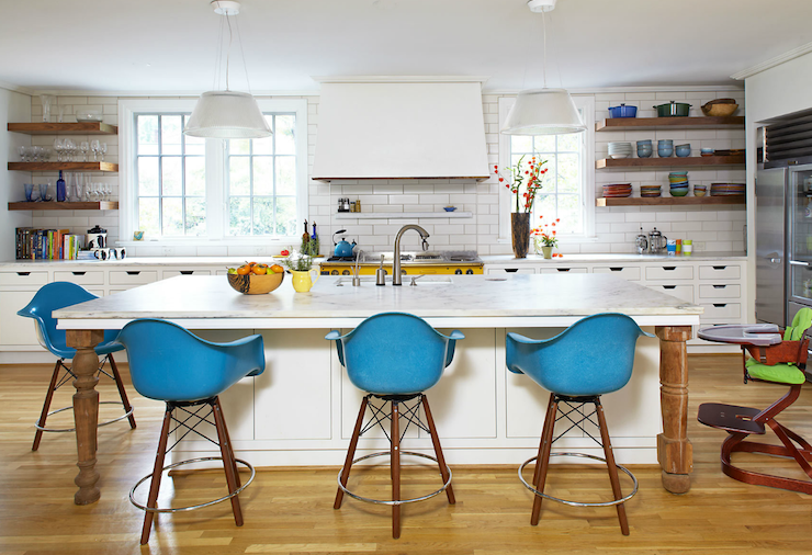 Jean Allsopp Photography - kitchens - white, kitchen cabinets, white, kitchen island, marble, countertops, yellow, stove, subway tiles, backspalsh, wood, floating, shelves, blue, Eames, molded, plastic, counter stools,