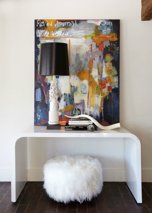 Jean Allsopp Photography - entrances/foyers - white, shag, pouf, curvy, white, modern, console, table, white, lamp, black, vinyl, shade, canvas, art, white console table, console table, waterfall console table, white waterfall console table,