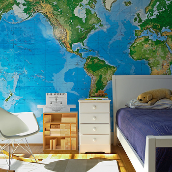 Jean Allsopp Photography - boy's rooms - blue walls, white, twin, bed, white, nightstand, blue, blanket, world map mural, world map wallpaper, Toys R Us World Map Wall Mural, ames Molded Plastic Rocker,