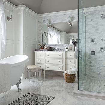 The Elegant Abode - bathrooms - warm, gray, ceiling, , clawfoot tub, marble, tiles, floor, marble, subway tiles, shower surround, marble, marble, basketweave, marble, tiles, shower floor, mirrored, vanity, stool, ivory, single, bathroom vanity, marble, top, vanity stool, mirror stool, mirror vanity stool, mirrored stool, mirrored vanity stool,