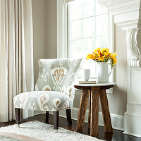 The Elegant Abode - living rooms - upholstered, chair, cafe au lait, walls, ivory, linen, drapes, rustic, table, stool, pitcher, vase, living room corner chairs, corner chairs living room, ikat chair, Kravet Bansuri Slate,