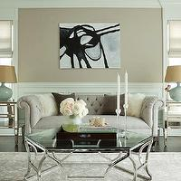 The Elegant Abode - living rooms - tan, beige, walls, chair rail, wainscoting, seafoam green, glass, gourd, lamps, gray, tufted, chesterfield, sofa, glass-top, geometric, coffee table, gray, traditional, rug, Pottery Barn Park Mirrored Bedside Table,
