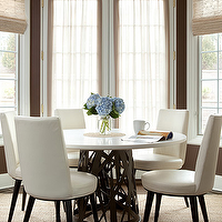 The Elegant Abode - dining rooms - chocolate, brown, walls, French doors, bamboo, roman shades, sisal, rug, round, marble, top, dining table, ivory, leather, contemporary, dining chairs, leather dining chairs, white dining chairs, white leather dining chairs,