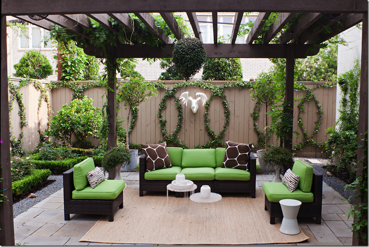 Sally Wheat Interiors - decks/patios - dark brown, stained, pergola, brown, outdoor, sofas, green, cushions, jute, rug, white, brown, pillows,