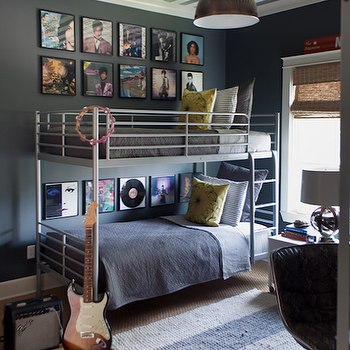 Sally Wheat Interiors - boy's rooms - gray, walls, metallic, white, silver, ceiling, bunk beds, blue, blanket, shams, yellow, pillows, jute, rug, layered, seagrass, rug, industrial, pendant, Prince, album, covers, art gallery, framed album covers,