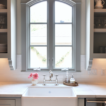 Sally Wheat Interiors - kitchens - gray, kitchen cabinets, open, shelves, marble, countertops, farmhouse, sink, bridge, faucet, gray green cabinets, gray green kitchen cabinets, gray green paint,