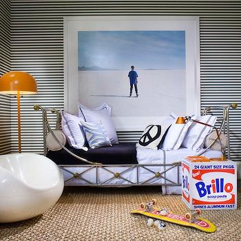 Martha Angus - boy's rooms - black, white, striped, walls, ornate, metal, twin, bed, modern, orange, floor lamp, white, modern, chair, art, striped walls, boys striped walls, black and white striped walls, boys room striped walls, West Elm Parsons Desk,