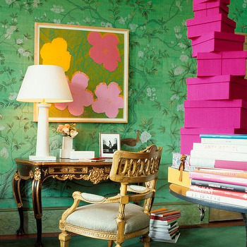 Angus Fergusson - dens/libraries/offices - green, textured, floral, walls, hot pink, linen, boxes, black, gold, French, antique, desk, gilt, Greek key, chair, gray, cushion, green wallpaper, green floral wallpaper,