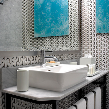 Martha Angus - bathrooms - black, white, wallpaper, turquoise, blue, canvas, art, glossy, black, single, bathroom vanity, white, carrara, marble, countertops, gray, wood, frame, mirror, geometric wallpaper, black and white geometric wallpaper, black and white wallpaper,