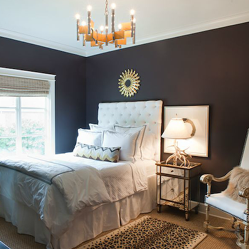 Sally Wheat Interiors - bedrooms - black, walls, gold, sunburst, mirror, white, tall, tufted, single, headboard, Missoni, pillow, mirrored, chest, nightstand, white, leather, camel back, French, chair, nailhead trim, tufted headboard, white headboard, white tufted headboard, Worlds Away Claudette Nightstand Edged in Gold,